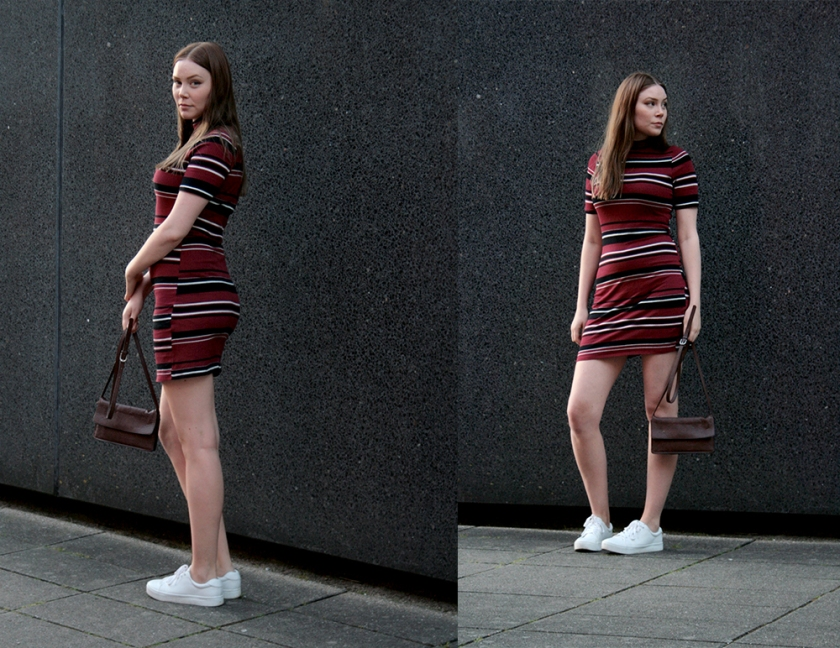 Sideview from Blogger in red HM dress with stripes